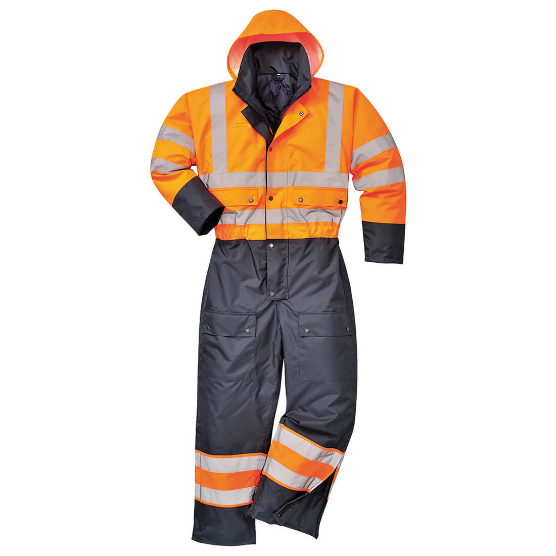 Image of Oxford Weave 300D Class 3 Hi Vis Contrast Overall Orange / Navy L