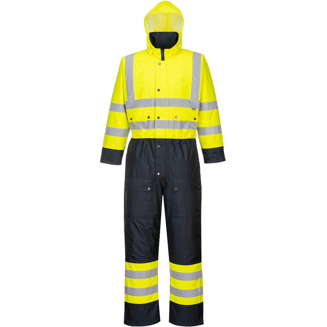 Image of Oxford Weave 300D Class 3 Hi Vis Contrast Overall Yellow / Navy 2XL