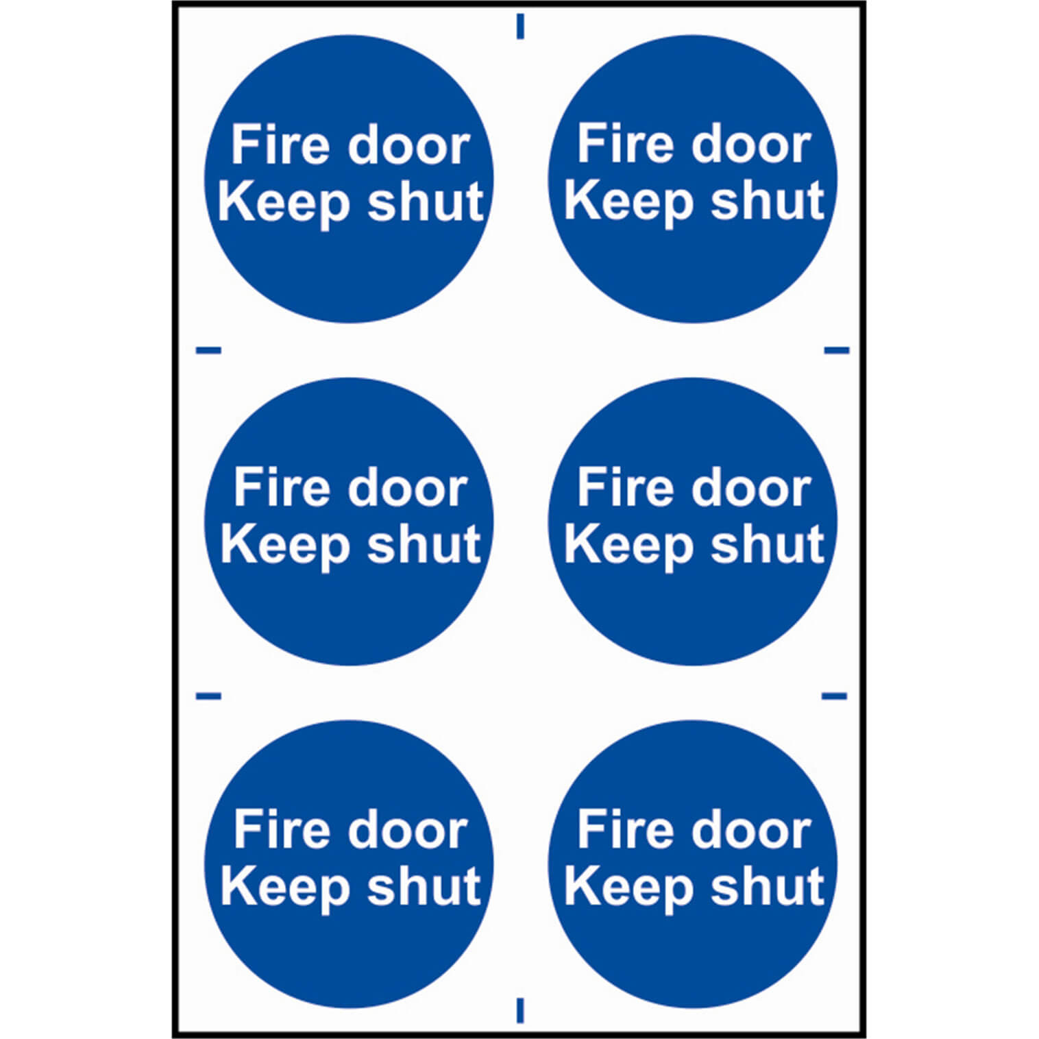 Image of Scan Fire Door Keep Shut Sign Pack of 6 100mm 100mm Standard
