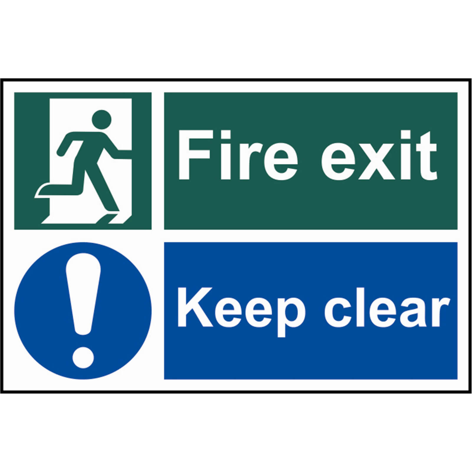 Image of Scan Fire Exit Keep Clear Sign 300mm 200mm Standard