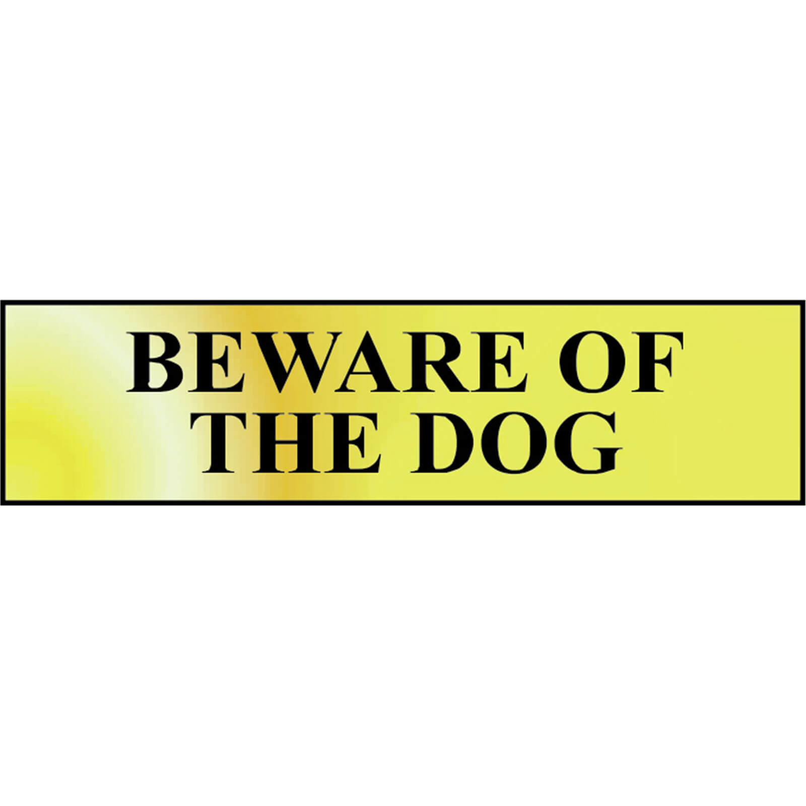 Image of Scan Brass Effect Beware Of The Dog Sign 200mm 50mm Standard