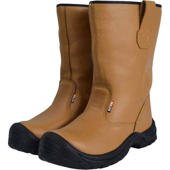 Image of Scan Mens Texas Rigger Safety Boots Tan Size 10
