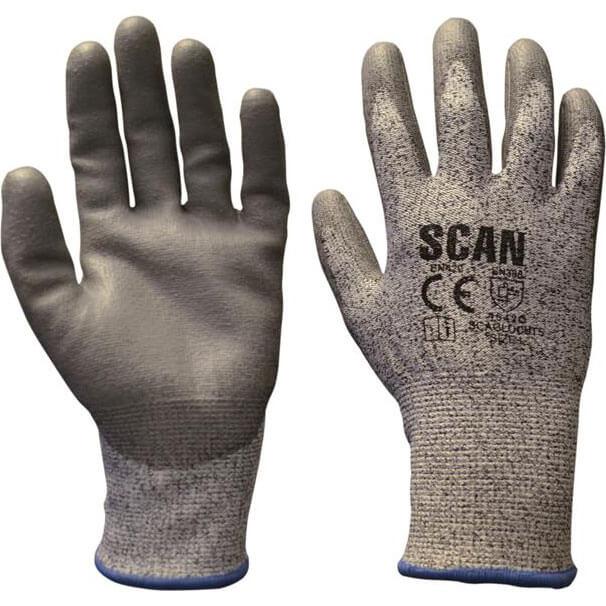 Image of Scan Mens Polyurethane Coated Cut 5 Liner Gloves Grey L