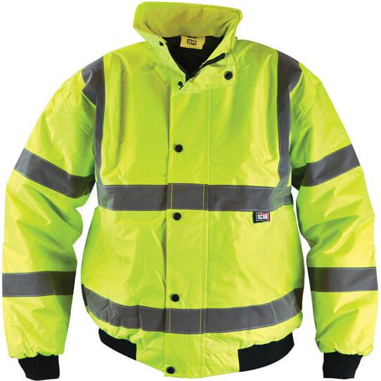 Scan Mens High Vis Bomber Jacket Yellow M