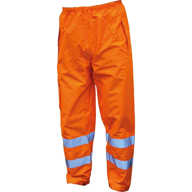 Image of Scan Hi Vis Waterproof Motorway Trousers Orange L