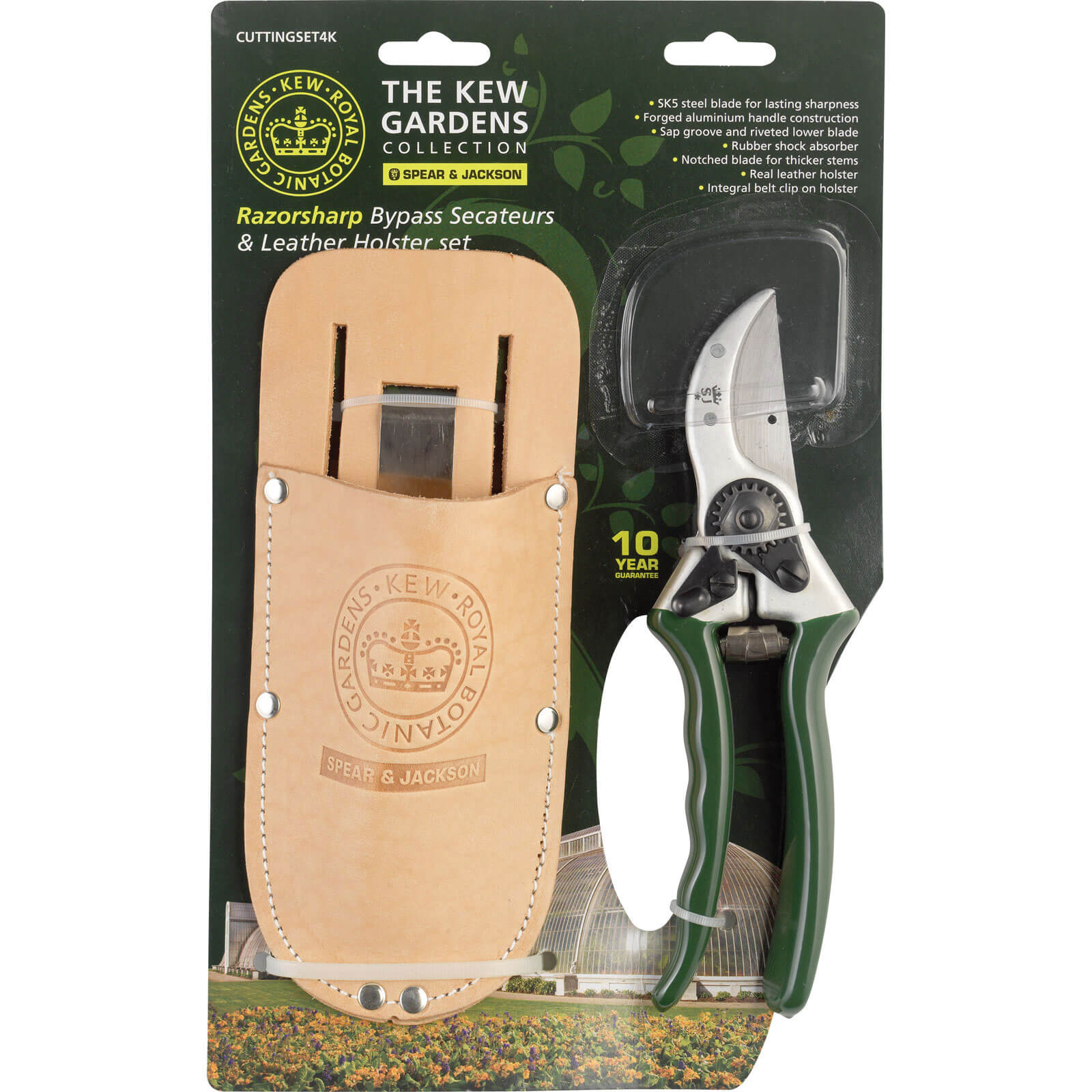 Image of Kew Gardens Razorsharp Bypass Secateurs & Holster
