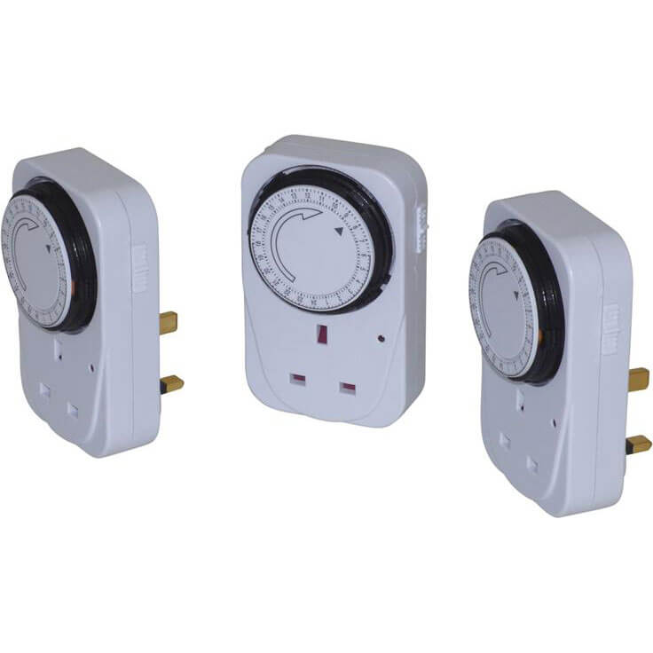 Image of SMJ Basix 24 Hour Mechanical Plug In Timer Pack of 3