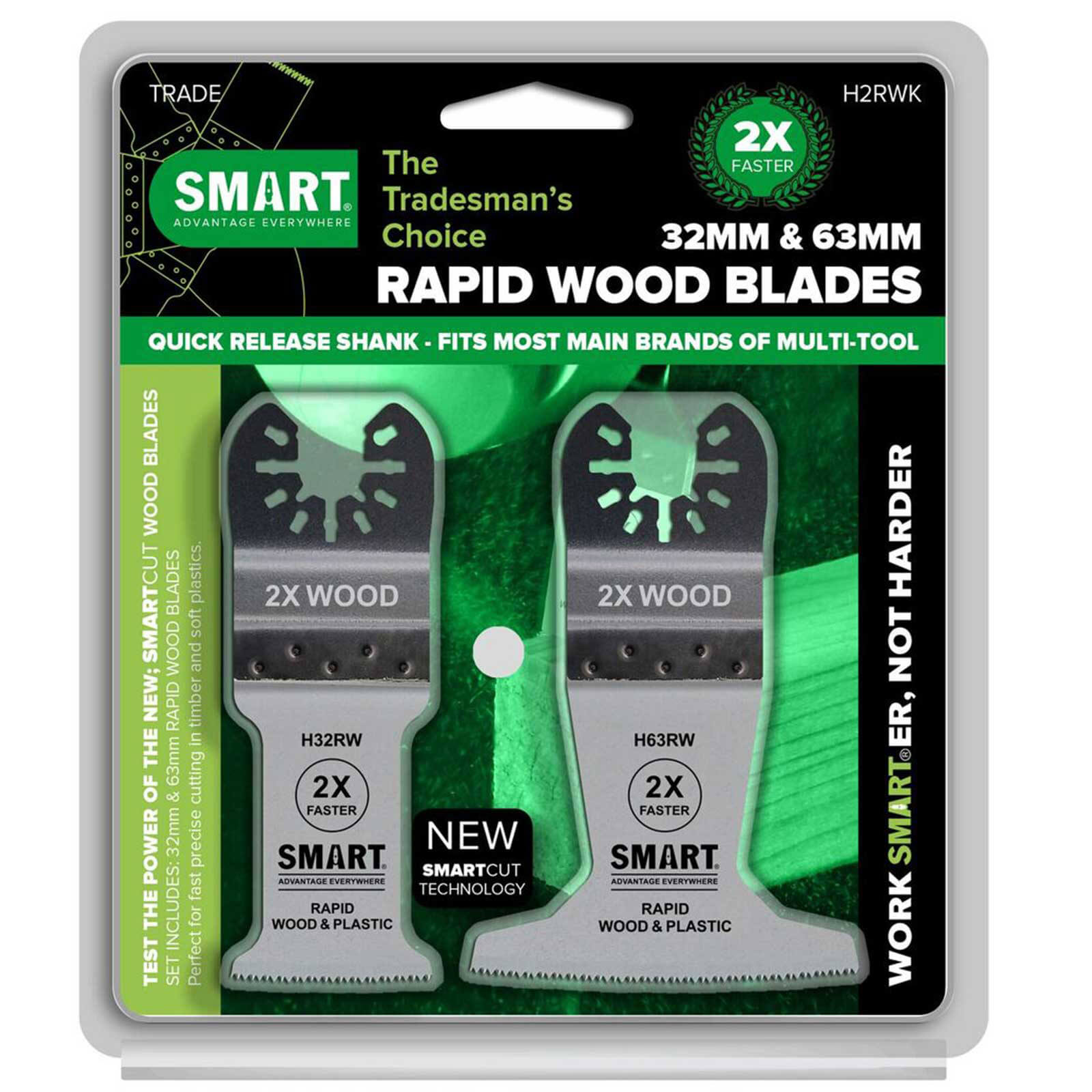 Image of Smart 2 Piece Rapid Wood Blade Oscillating Multi Tool Blade Set