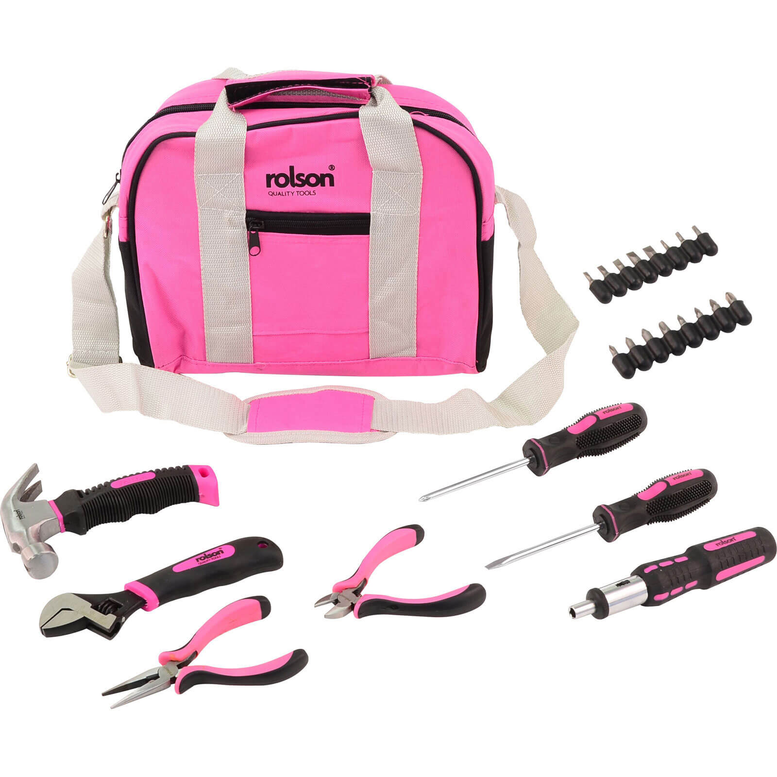 Image of Ladies Household Pink Hand Tool Kit with Tool Bag