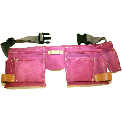 Image of Ladies Tool Belt & Double Pink Leather Tool Pouch