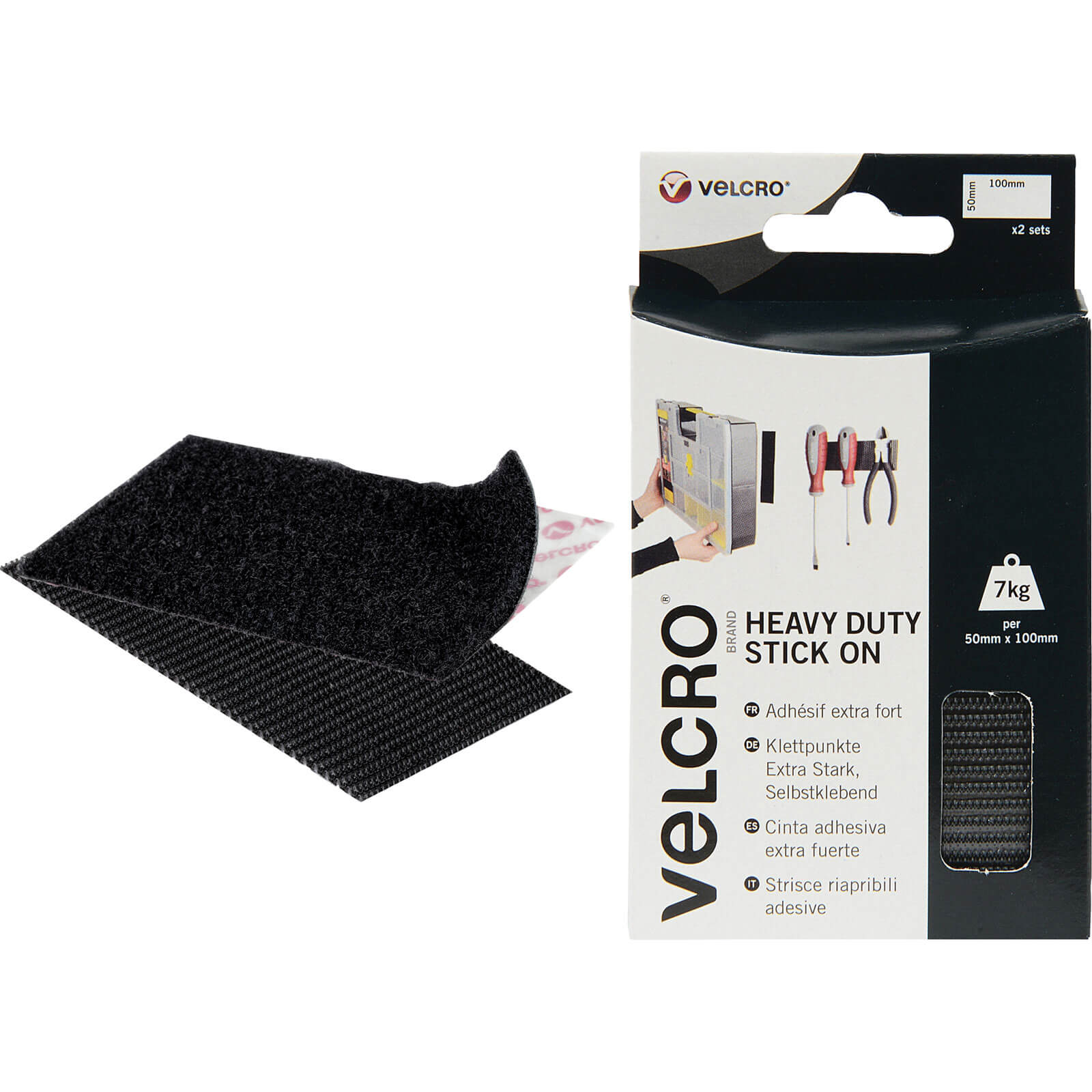 Image of Velcro Heavy Duty Stick On Strips Black 50mm 100mm Pack of 2