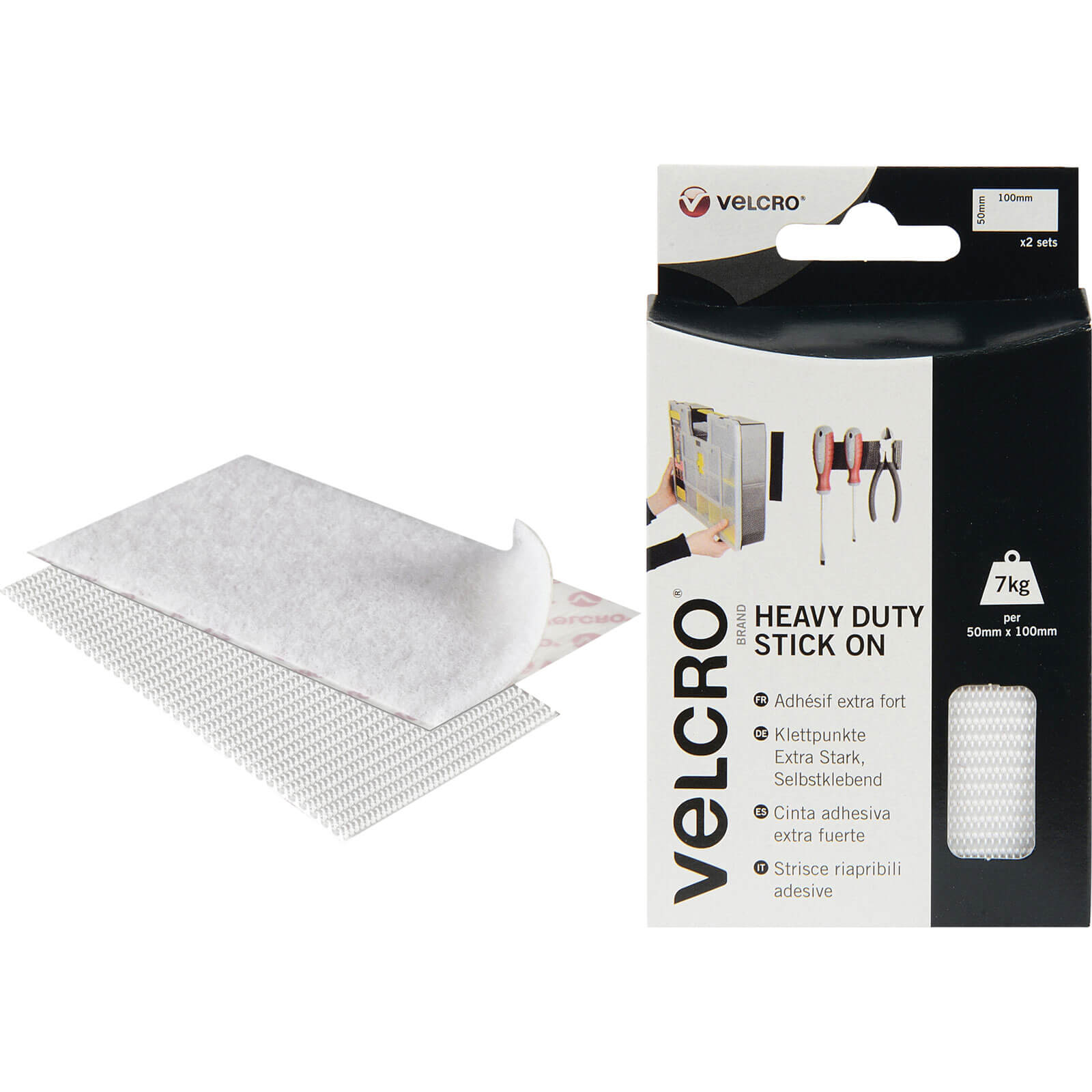 Image of Velcro Heavy Duty Stick On Strips White 50mm 100mm Pack of 2