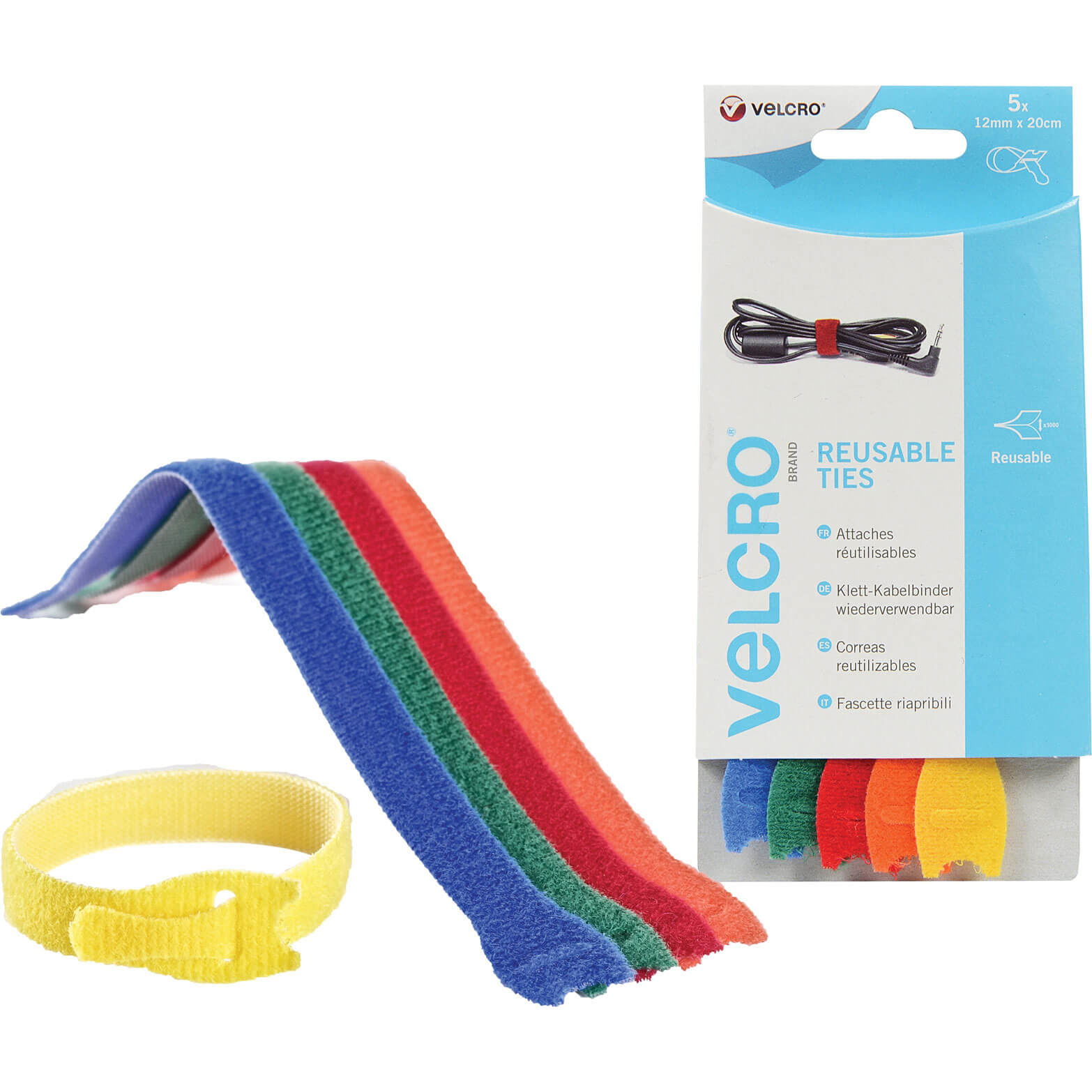 Image of Velcro Adjustable Ties Multicoloured 12mm 200mm Pack of 5