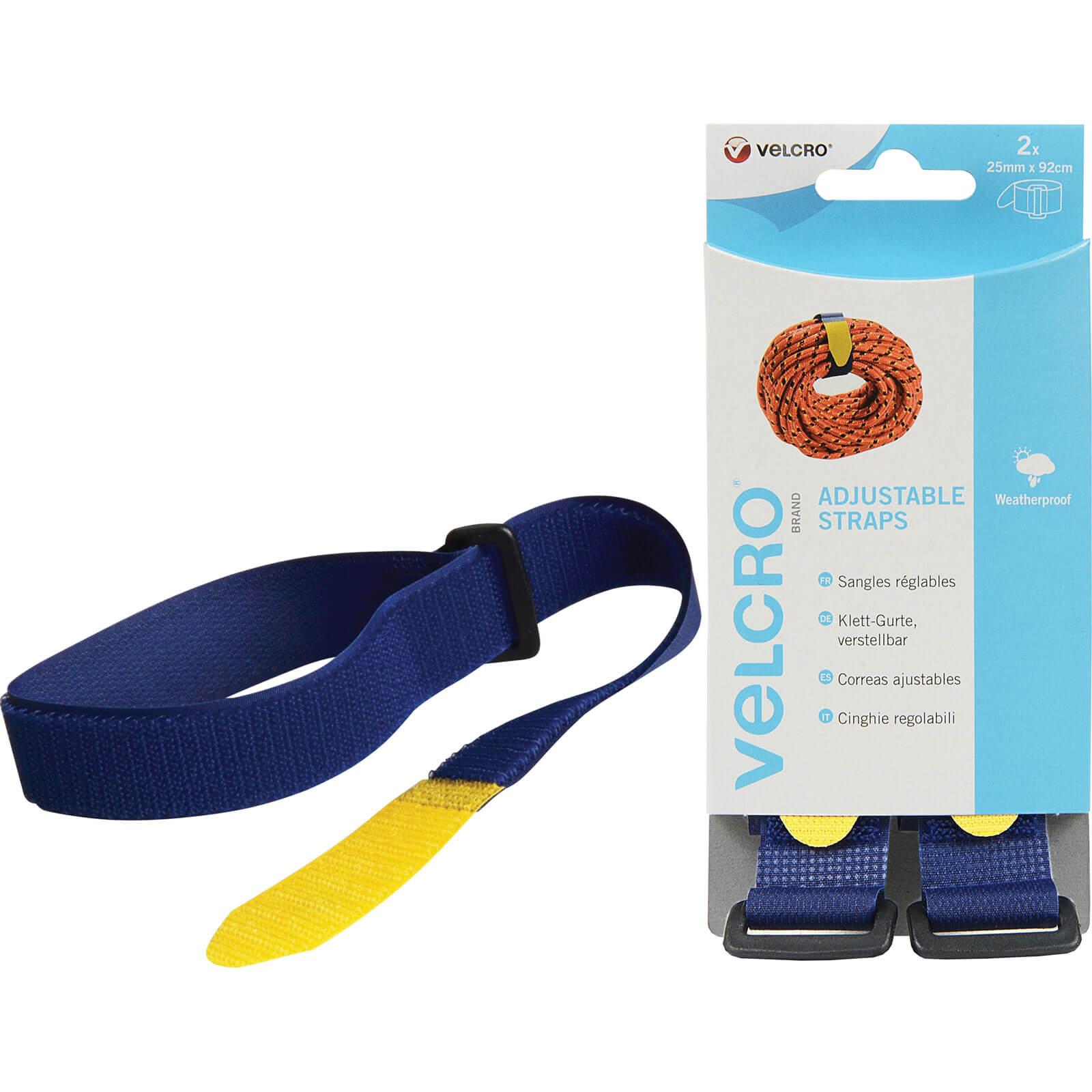 Image of Velcro Adjustable Straps Blue 25mm 920mm Pack of 2