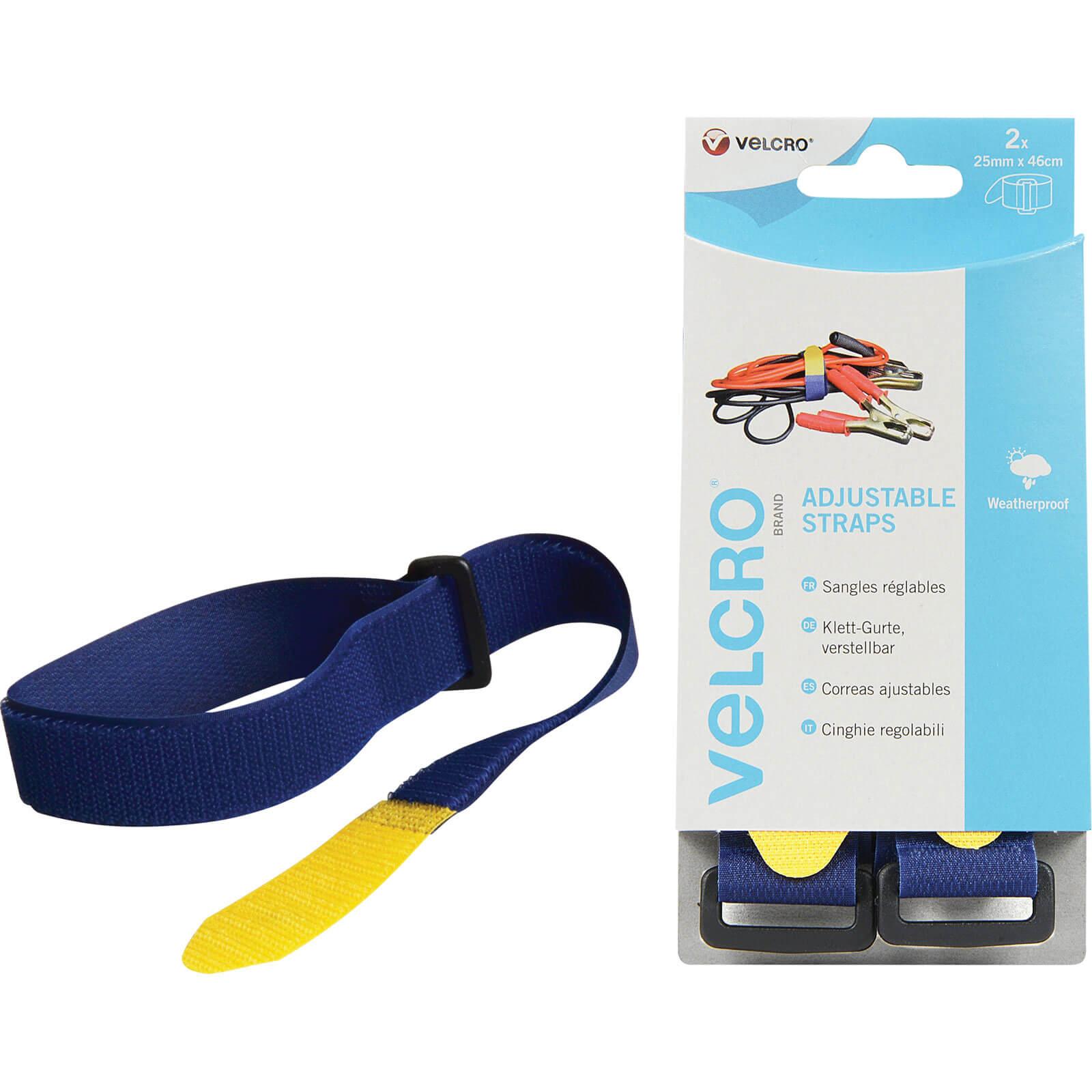 Image of Velcro Adjustable Straps Blue 25mm 460mm Pack of 2