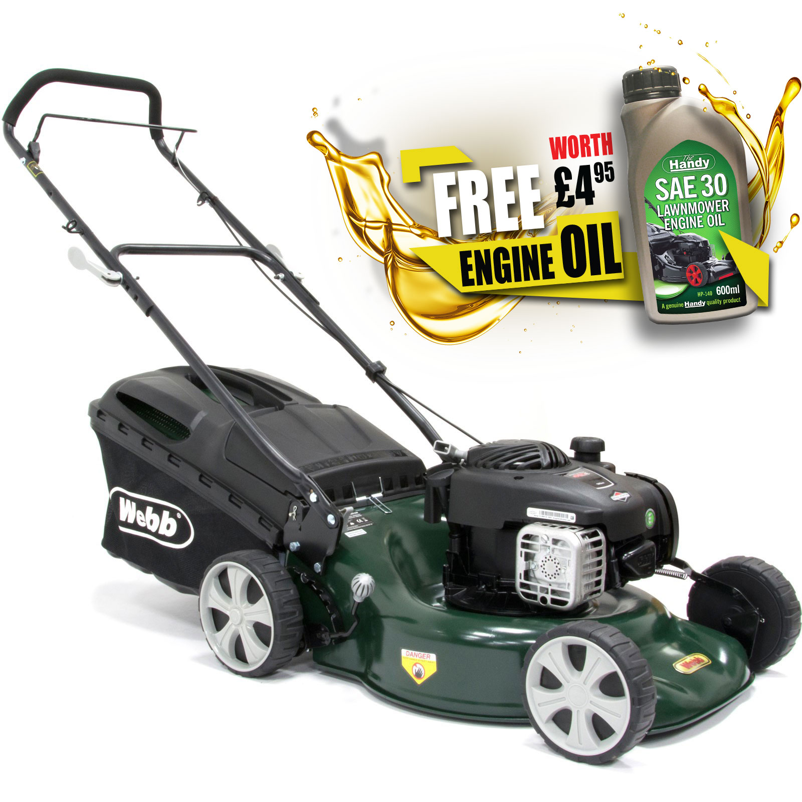 Image of Webb WER18SP Self Propelled Petrol 3 in 1 Rotary Lawnmower 460mm FREE Engine Oil Worth £4.95