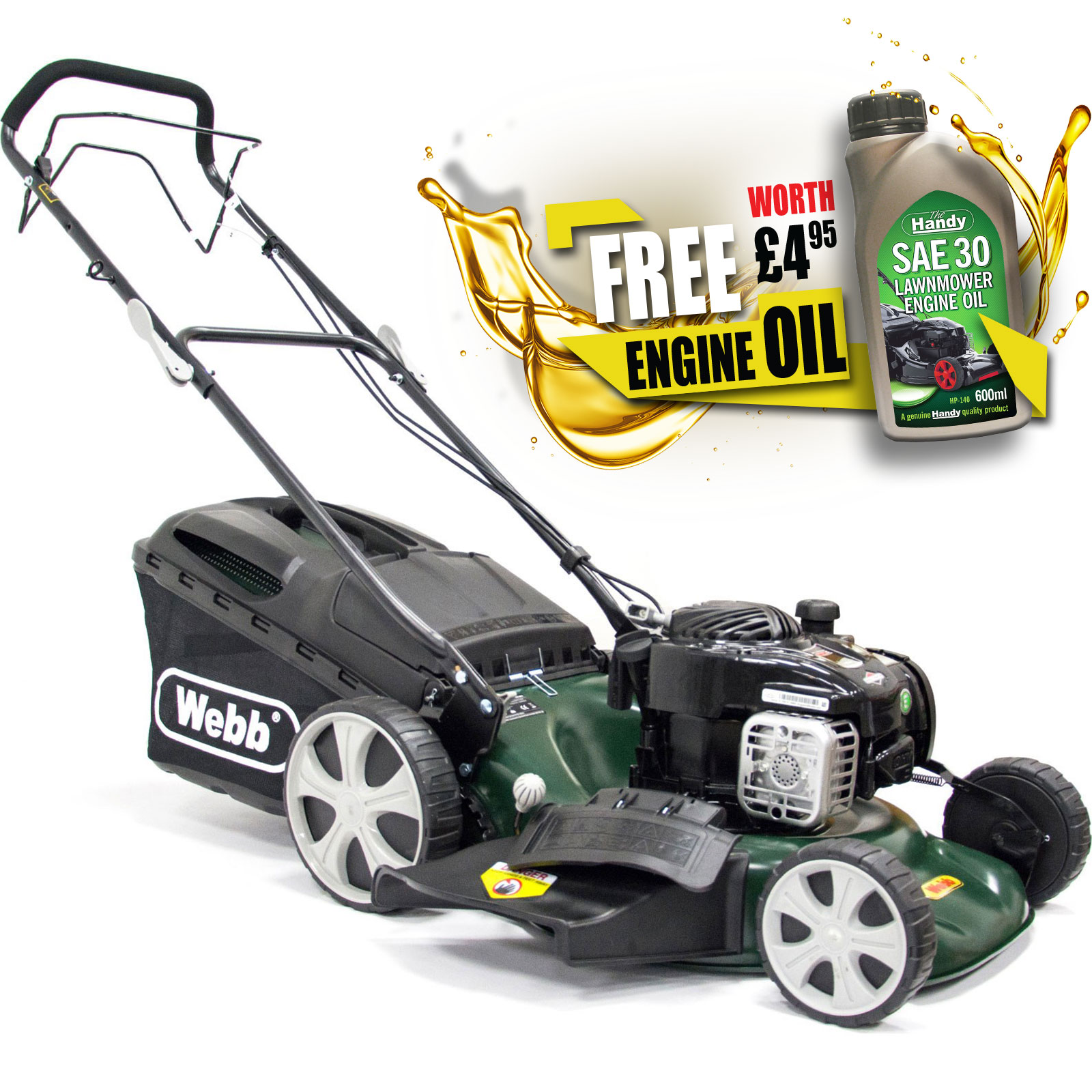 Image of Webb WER18HW Self Propelled Petrol 3 in 1 Rotary Lawnmower 460mm FREE Engine Oil Worth £4.95