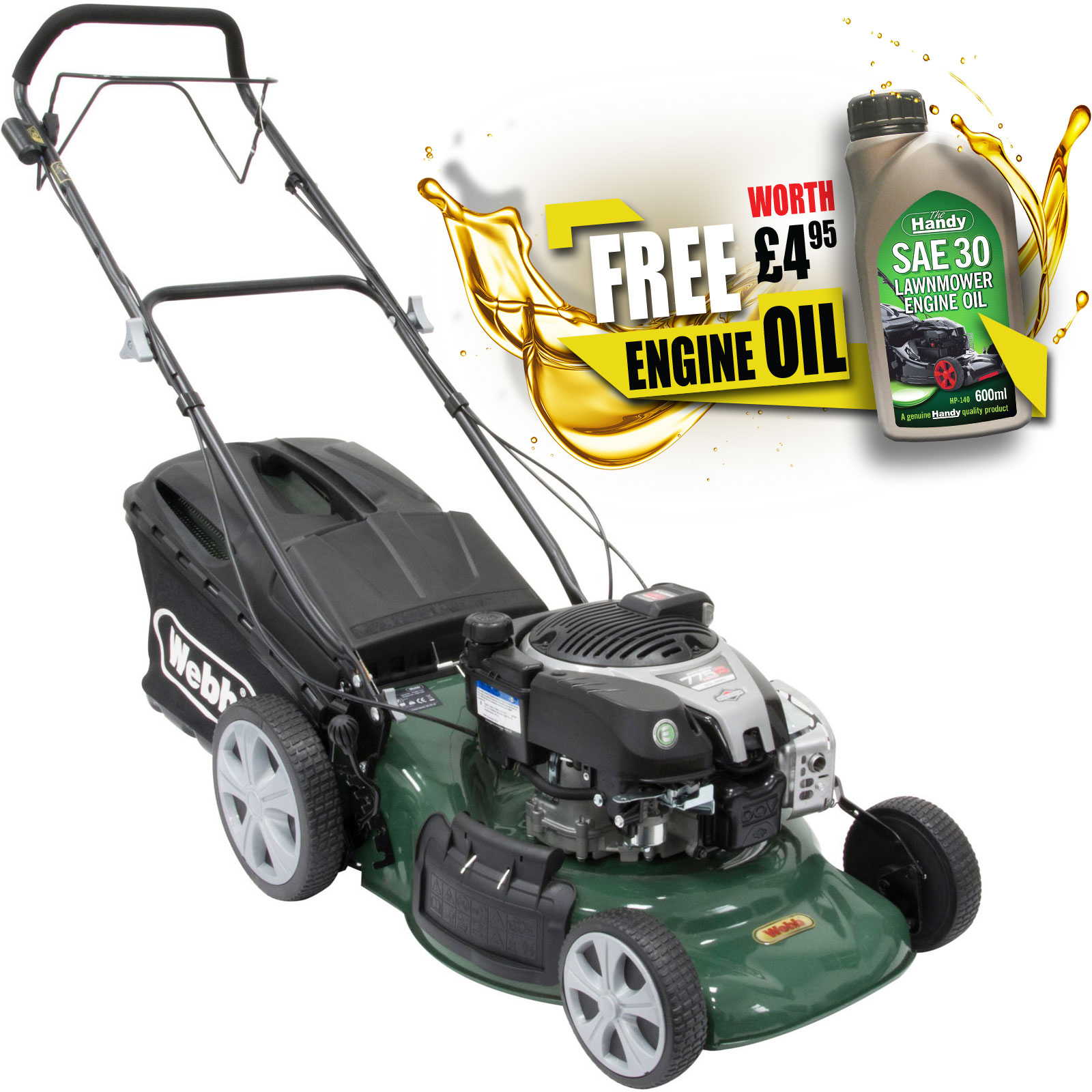 Image of Webb WER18SPES Self Propelled Petrol Rotary Lawnmower 460mm FREE Engine Oil Worth £4.95