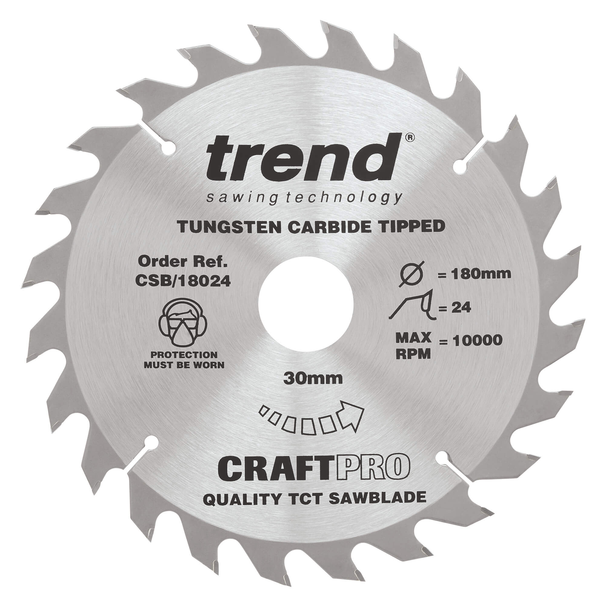 Image of Trend CRAFTPRO Wood Cutting Saw Blade 180mm 24T 30mm