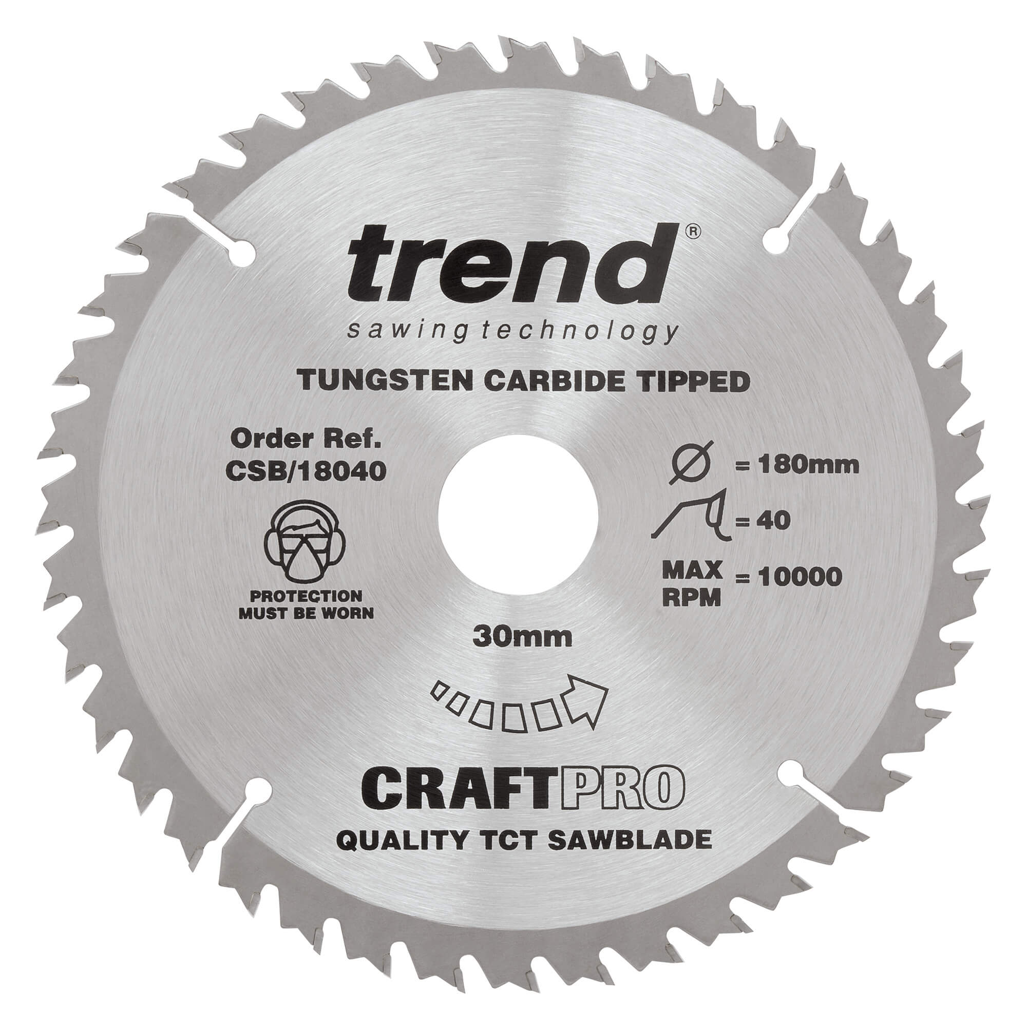 Image of Trend CRAFTPRO Wood Cutting Saw Blade 180mm 30T 30mm