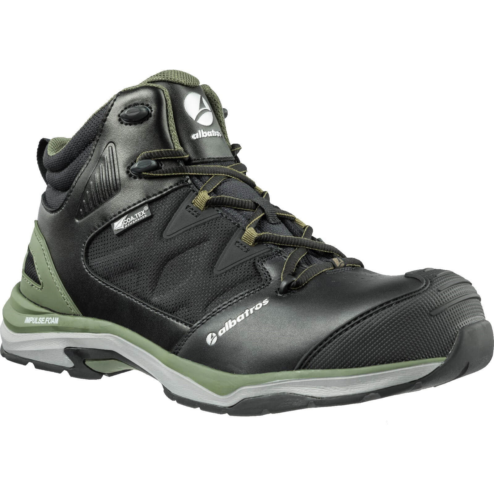Image of Albatros Mens Ultratrail Olive Ctx Mid Safety Boots Black / Olive Size 10
