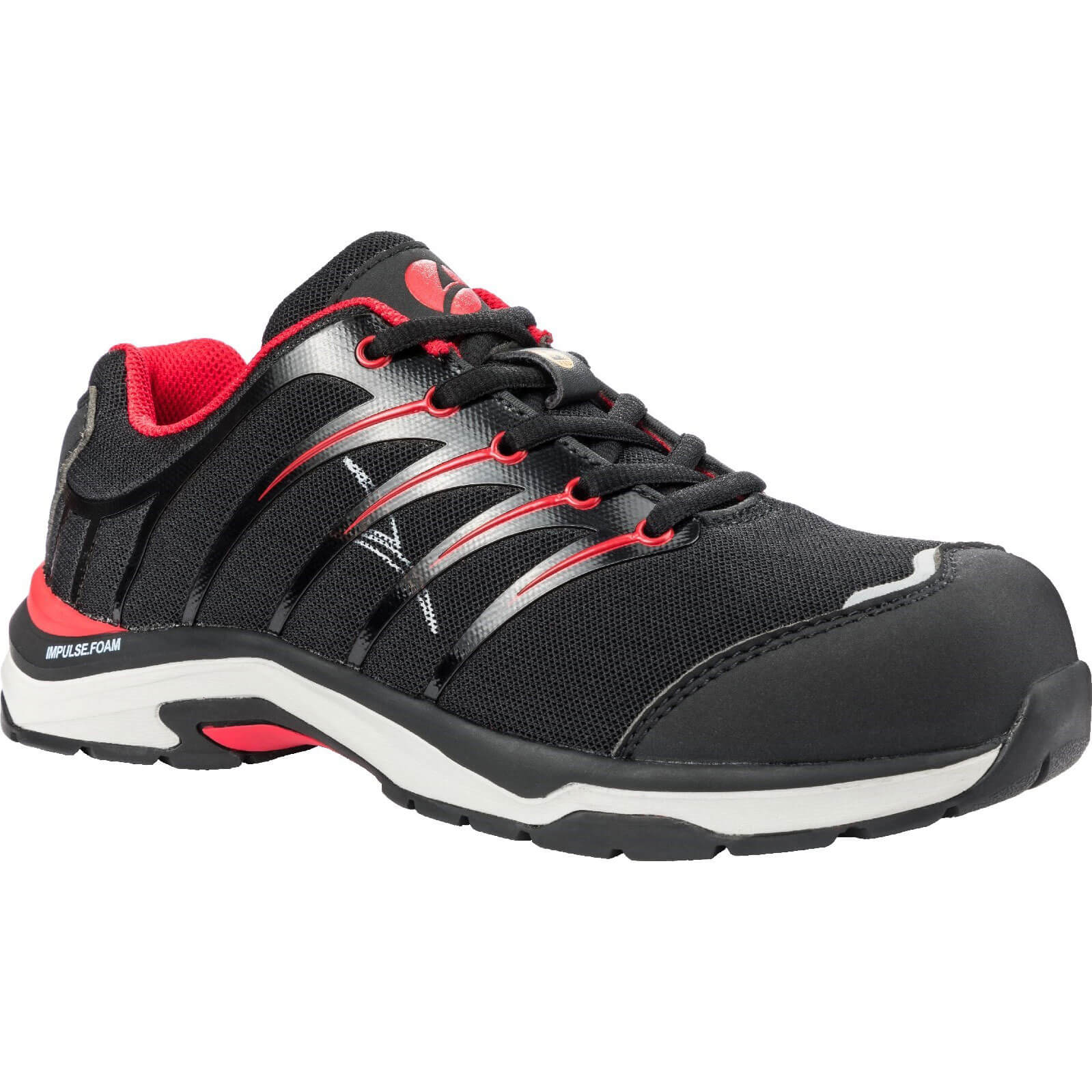 Image of Albatros Twist Low Lace Up Safety Shoe Black / Red Size 8