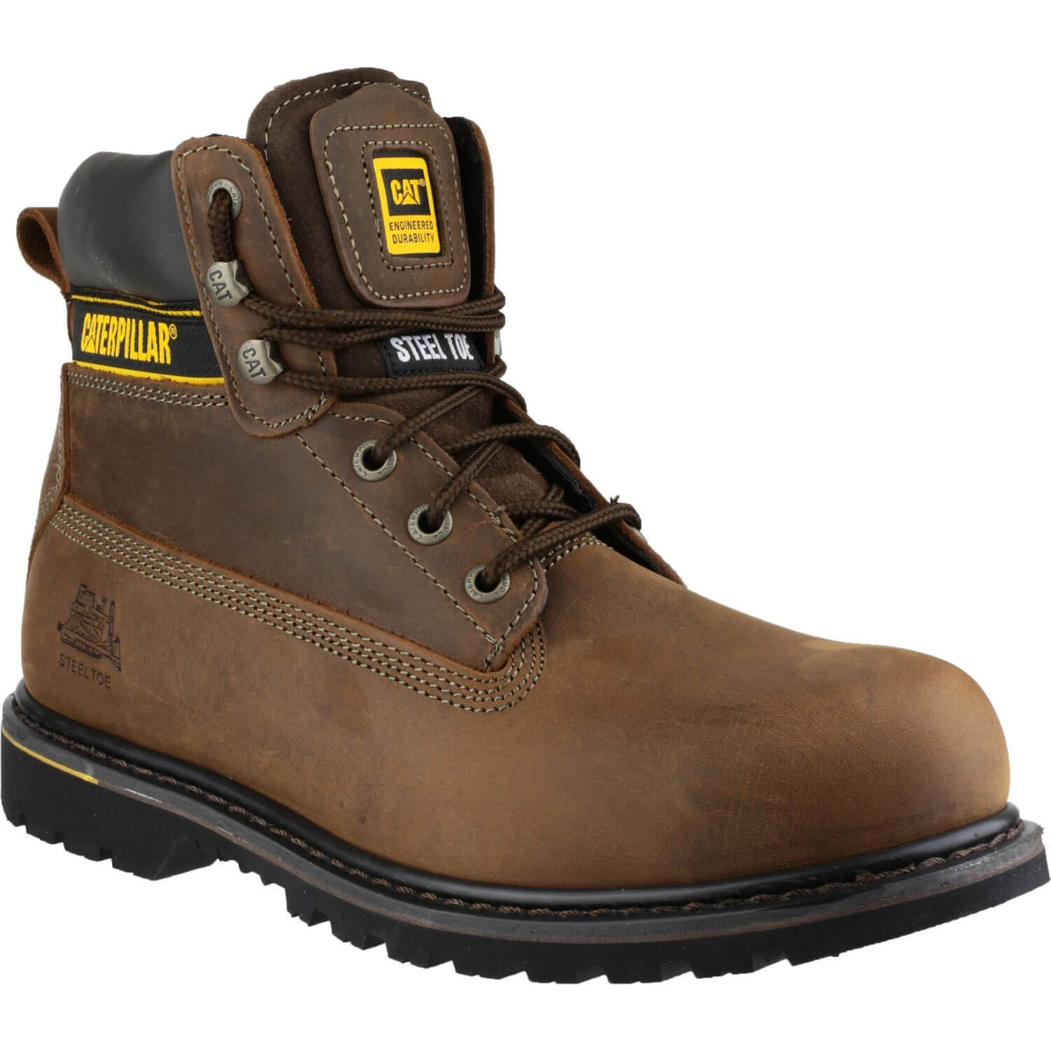 Caterpillar Mens Holton Safety Boots Brown Size 14