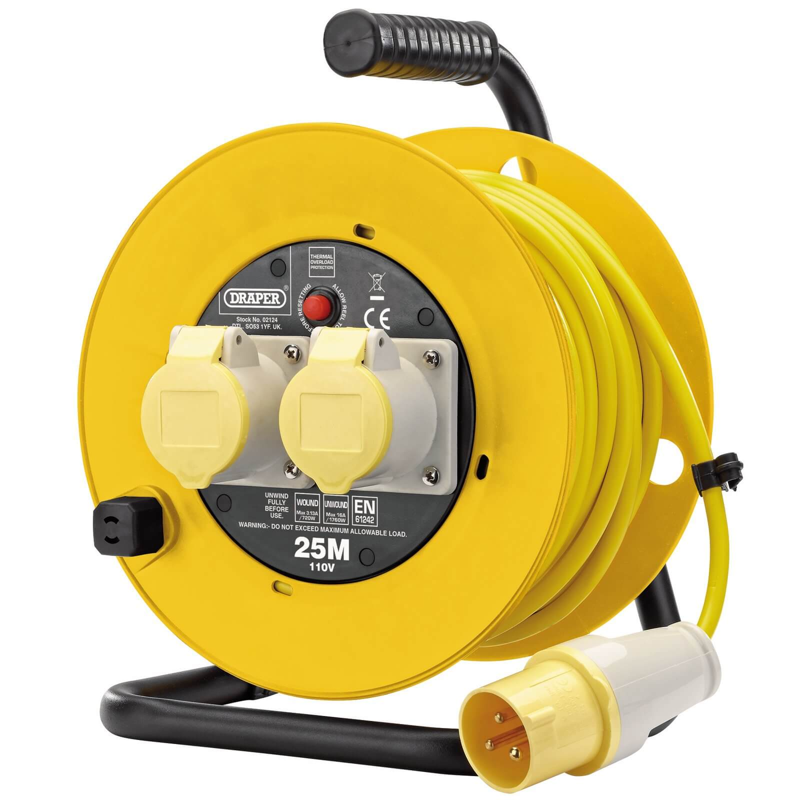 Draper Twin Socket Cable Extension Reel 110v 25m