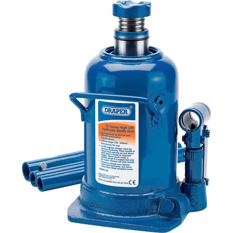Draper High Lift Hydraulic Bottle Jack 10 Tonne