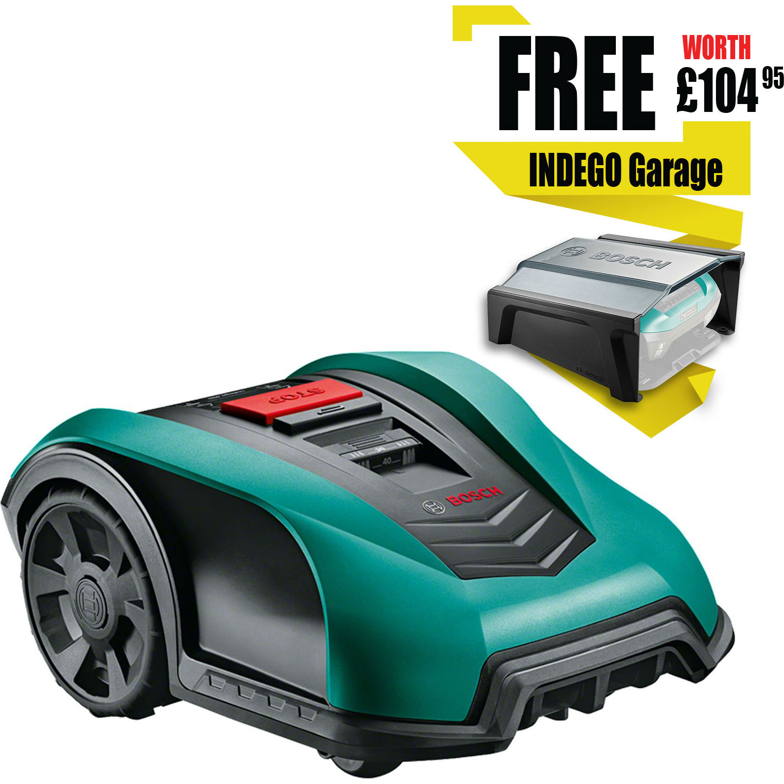 Image of Bosch INDEGO 400 18v Cordless Robotic Lawnmower 190mm 1 x 2.5ah Integrated Li-ion Charger