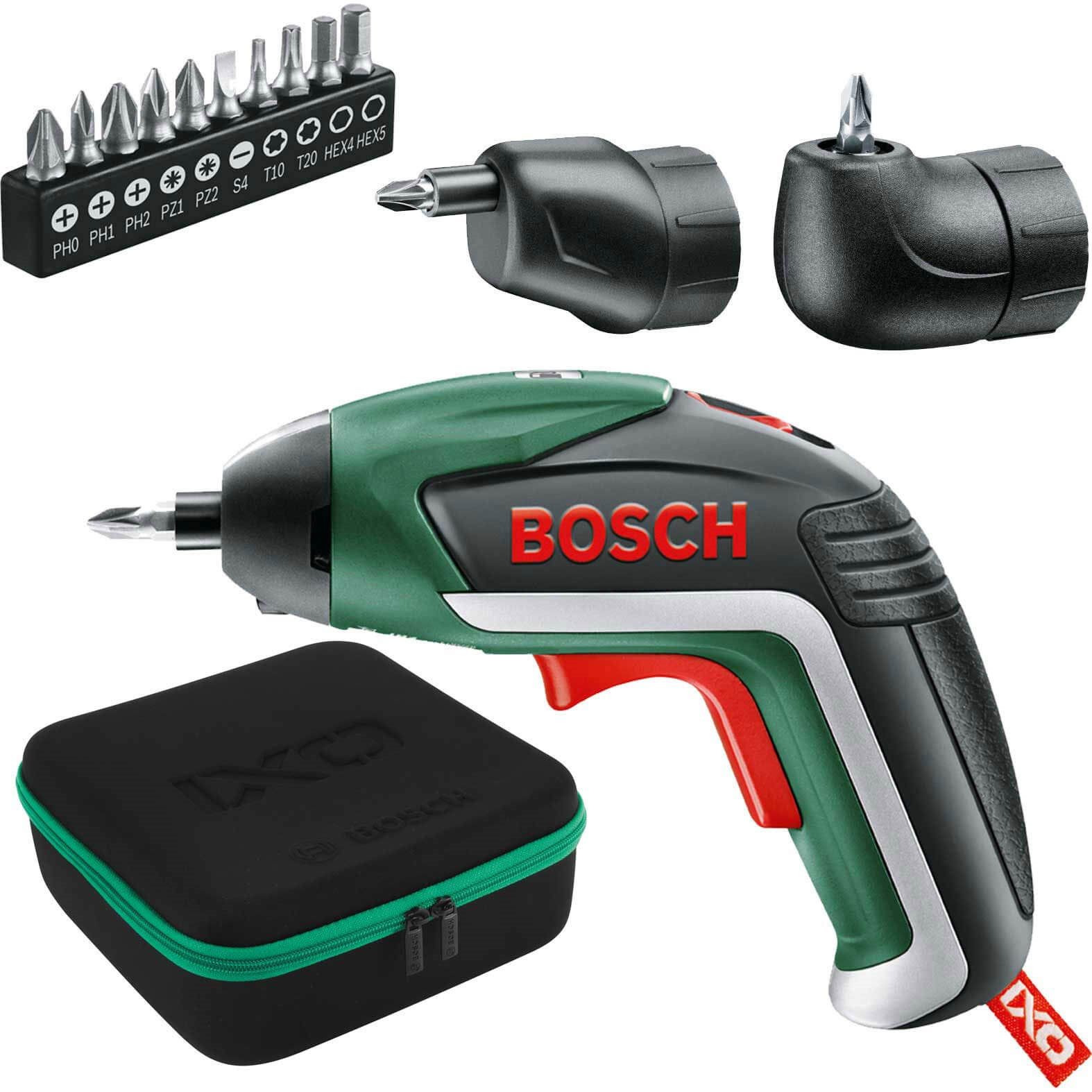 bosch ixo v 3.6v cordless screwdrive & ofset angle adaptor