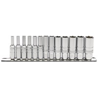 "Draper Expert 13 Piece 1/4"" Drive Deep Hex Socket Set Metric on Rail"