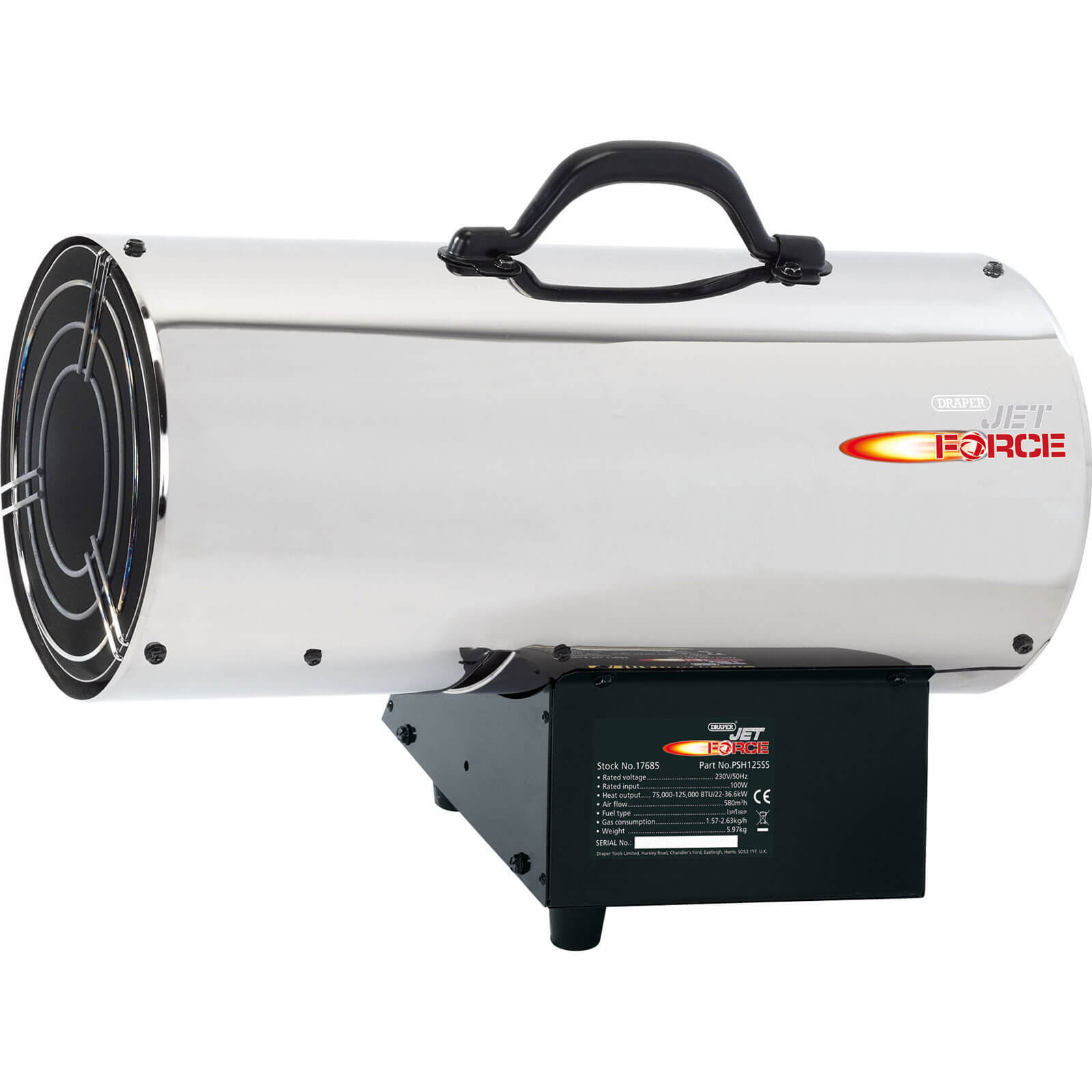 draper jet force psh125ss stainless steel propane space heater - Propane Space Heater