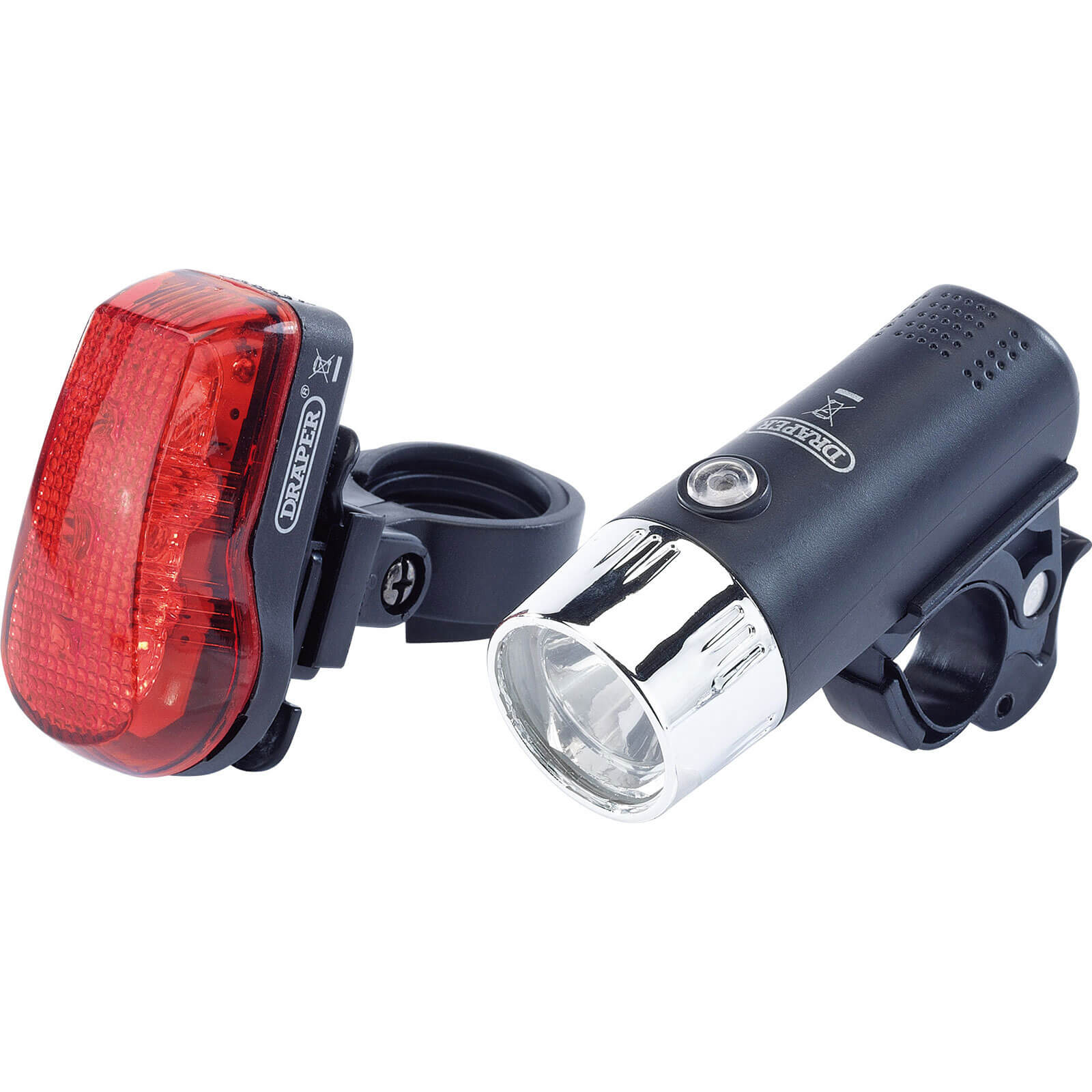 Image of Draper Front and Rear LED Bicycle Light Set 75 Lumens