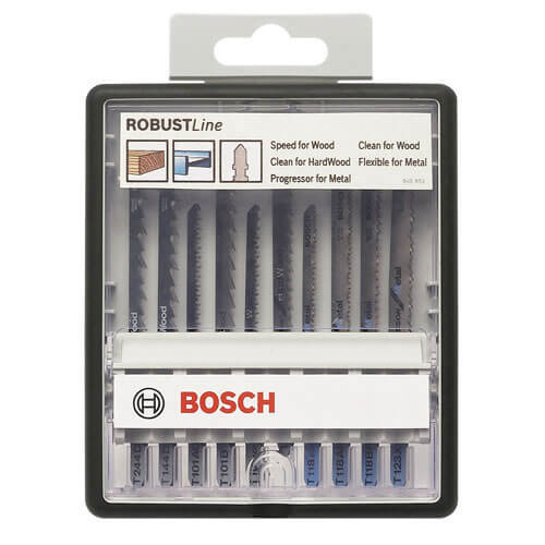 Image of Bosch 10 Piece Metal & Wood Cutting Jigsaw Blade Set
