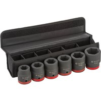 "Bosch 6 Piece 1"" Drive Hexagon Impact Socket Set Metric"