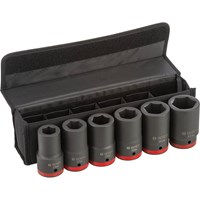 "Bosch 6 Piece 1"" Drive Deep Hexagon Impact Socket Set Metric"