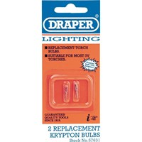 Draper 2 Piece Replacement Krypton 3v Torch Bulb