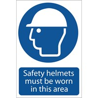 Draper Safety Helmets Must Be Worn In This Area Sign