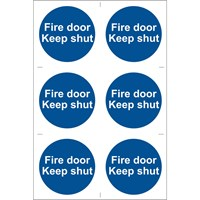 Draper Fire Door Keep Shut Sign Pack of 6