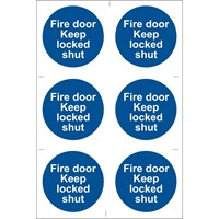 Draper Fire Door Keep Locked Sign Pack of 6