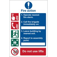 Draper Fire Action Procedure Sign