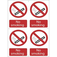 Draper No Smoking Sign Pack of 4