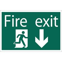 Draper Fire Exit Arrow Down Sign