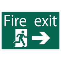 Draper Fire Exit Arrow Right Sign