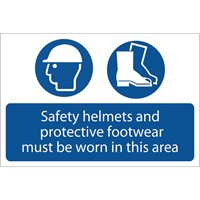 Draper Safety Helmets & Protective Footwear Must Be Worn Sign