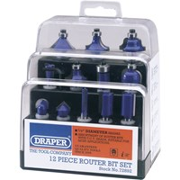 "Draper 12 Piece 1/4"" Router Bit Set"