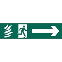 Draper Running Man Arrow Right Fire Safety Sign