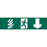 Draper Running Man Arrow Down Fire Safety Sign