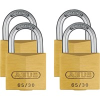 Abus 65 Series Brass Padlock Pack of 4 Keyed Alike